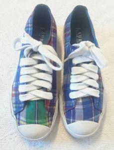 Ralph Lauren fabric plaid tennis boy shoes